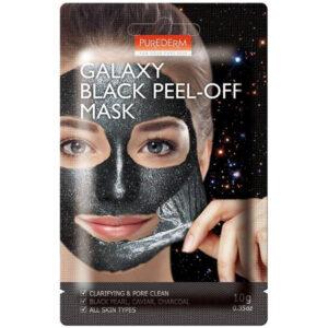 Очищающая маска-пленка для лица Черная Purederm Galaxy Black Peel-Off Mask не только интенсивно избавляет кожу и поры от накопившихся загрязнений, токсинов, излишков себума, кератинового слоя отмерших клеток, но и качественно восстанавливает ее природную красоту и здоровье. Маска наполняет кожу здоровым сиянием, свежестью, нормализует гидро-липидный обмен, pH баланс, естественными образом снижает выработку кожного жира, глубоко увлажняет и питает ее, стимулирует собственные иммунные качества. Маска борется с имеющимися на коже воспалительными процессами и предотвращает появление новых дефектов, выравнивает тон и микрорельеф кожи, успокаивает и смягчает ее, придает длительную матовость, свежесть, комфорт, повышает тонус. Подходит для всех типов кожи. Рекомендуется для кожи, склонной к воспалениям и избыточному салоотделению. Активные компоненты Угольная пудра и торфяная вода способствуют глубокому очищению кожи и пор, обладают высокими противовоспалительными и противомикробными качествами, обогащают кожу макро- и микроэлементами, повышают ее тонус, усиливают собственный иммунитет, снижают реактивность к внешним раздражителям. Экстракты черной икры, черного жемчуга, аниса обеспечивают интенсивное питание, увлажнение, восстановление кожи, ускоряют процессы регенерации новых клеток, придают коже упругость, эластичность, гладкость, подтянутость, уменьшают выраженность морщинок, замедляют процессы старения. Способ применения Перед вскрытием упаковки, размять ее в руках для лучшего смешивания ингредиентов. Нанести маску на чистую сухую кожу лица, равномерно распределить. Оставить для воздействия на 15-20 минут, затем снять образовавшуюся пленку по направлению от подбородка ко лбу. Остатки маски смыть водой или другим привычным средством.